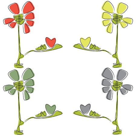 flowers with hearts Vector