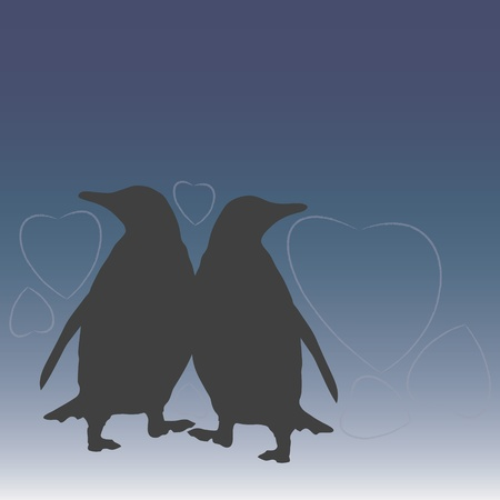 two penguins with hearts Stock Vector - 11990009