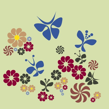 pastel colored: flower and butterfly Illustration