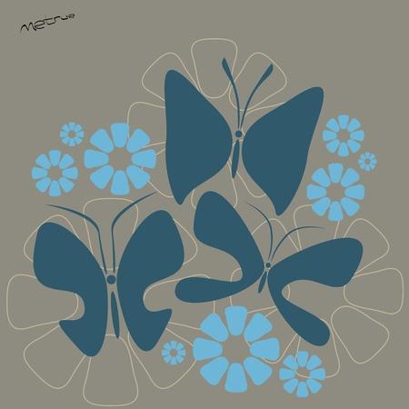 florid: flowers and butterflies
