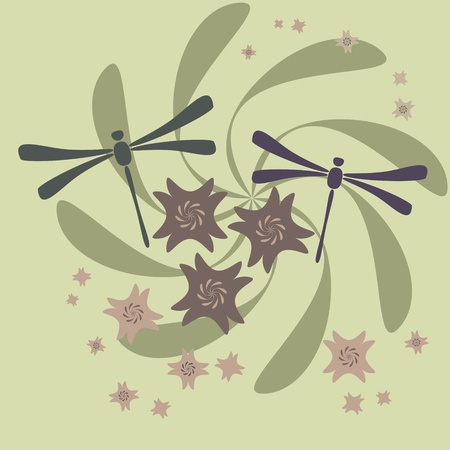 flower and dragonfly Vector