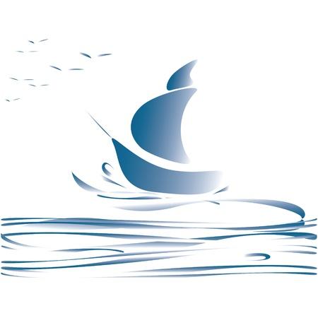 ship sky: blue boat