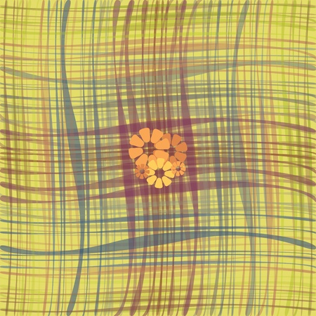 orange flowers on striped yellow background Vector