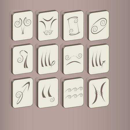 fine set of icons with zodiac signs