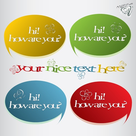 nice set of speech bubbles with flowers and butterflies Stock Vector - 12813495