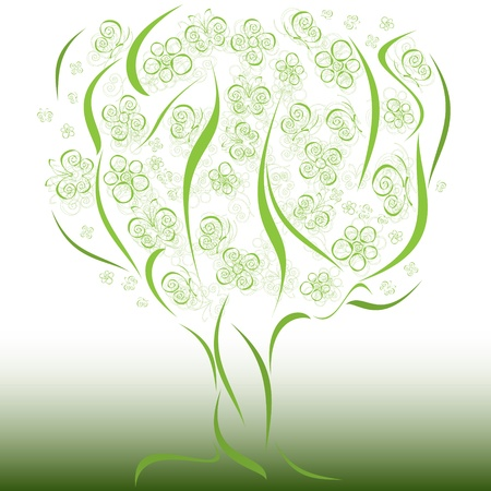 fine abstract green tree with flowers and butterflies Vector