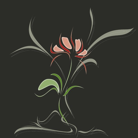 fine red flower on dark gray background Stock Vector - 12813497