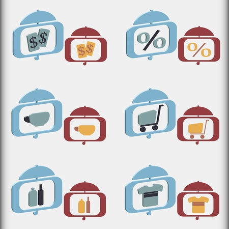 nice set of shopping icons in two different styles  Stock Vector - 12813500