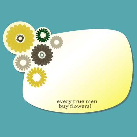 funny label for your text with flowers Vector