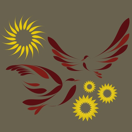nice simple with abstract birds and flowers  Illustration