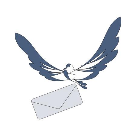 paloma caricatura: buena imagen con la paloma de vuelo y el correo