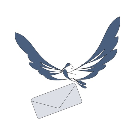 nice image with flying dove and mail  Illusztráció