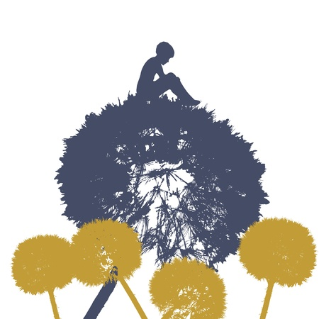 nice card with young men seating on dandelion Vector
