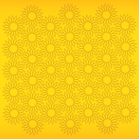 fine abstract background with sunflowers on yellow Vector