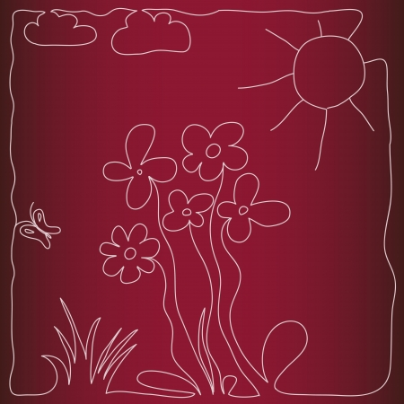 nice hand drawn illustration with flowers and butterflies in summer meadow Vector