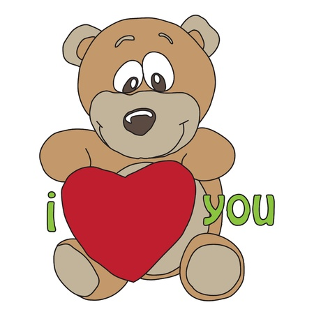nice cartoon style illustration of funny bear with heart Vector