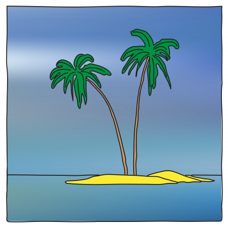 nice cartoon style view of small island with two palms Vector