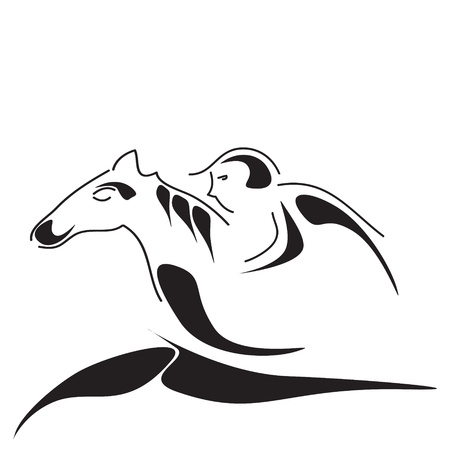 nice simple abstract image of horse and horseman Vector