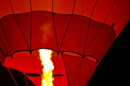 beautiful hot air balloon flying in the night photo