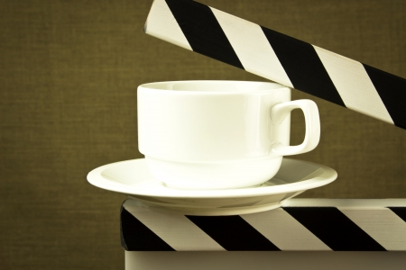 fine image of coffee break concept with cup on clapboard