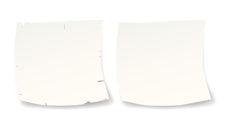 two isolated white paper blank reminders for text or logo Vector