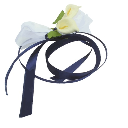 free illustration: new royalty free illustration of decorative flowers with ribbon isolated on white background  Illustration