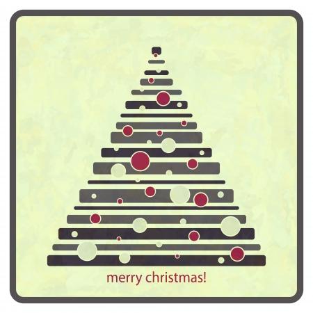 lizenzfrei: Retro-Stil Lizenzfreie Illustration der Winter Baum mit roten Kugeln und Gr��e