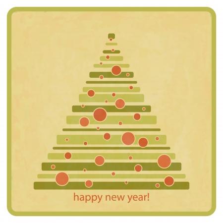 royalty free: annata Royalty free style illustrazione di albero sempreverde con le palle rosse con saluti