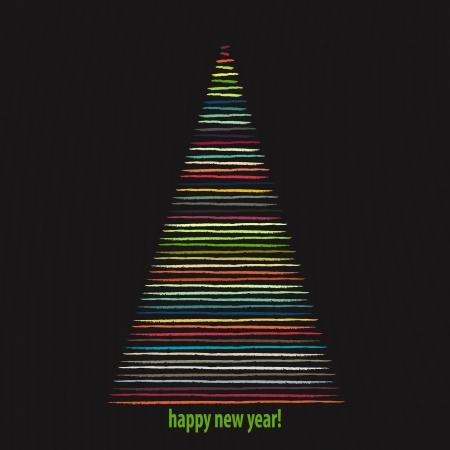 lizenzfrei: neue Lizenzfreie seasonal illustration mit gestreiften Winter Baum auf dunklem Hintergrund