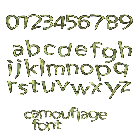 alphabetical order: new royalty free set of alphabet letters and numbers with camouflage style