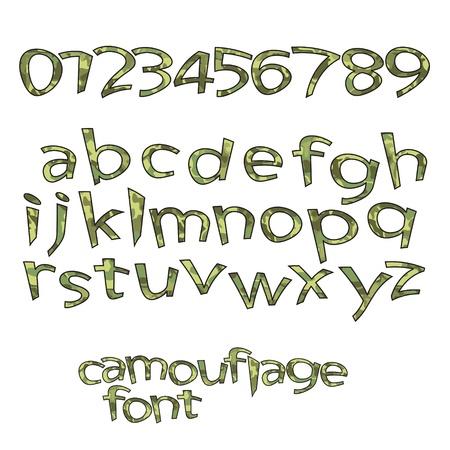 royalty free: regalit� nuova serie privo di lettere dell'alfabeto e numeri con stile camouflage Vettoriali
