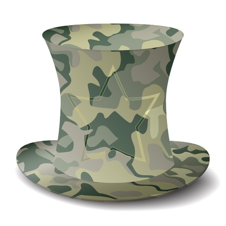 new royalty free military style top hat icon isolated on white background Illustration