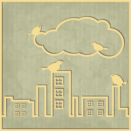 new abstract card with cityscape cloud and birds on vintage background  Stock Vector - 17144354
