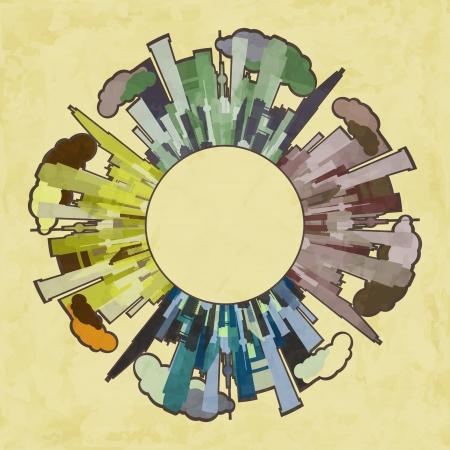 new concept illustration with season city like world symbol on grunge background Stock Vector - 17626932