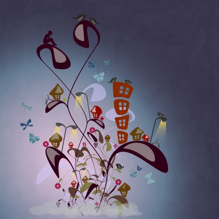 new cartoon style illustration with fantastic city on abstract plants with birds and butterflies Vector