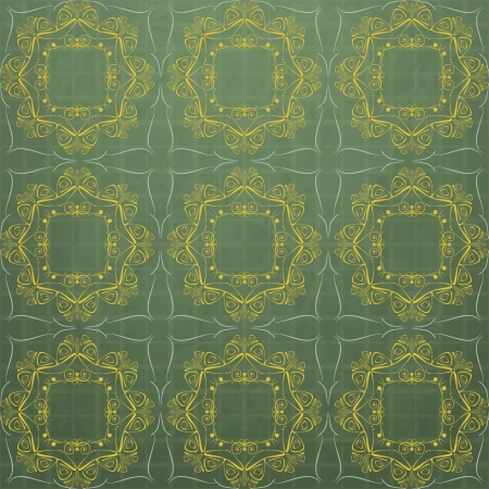 new retro style pattern with floral ornament on green background can use like abstract wallpaper Stock Vector - 17626928