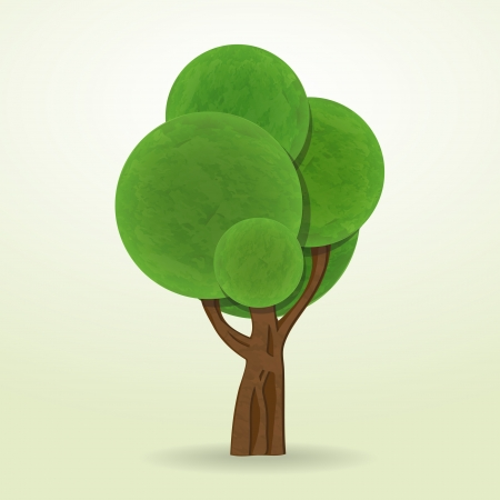 new cartoon style tree icon isolated on white background can use like design element Vector