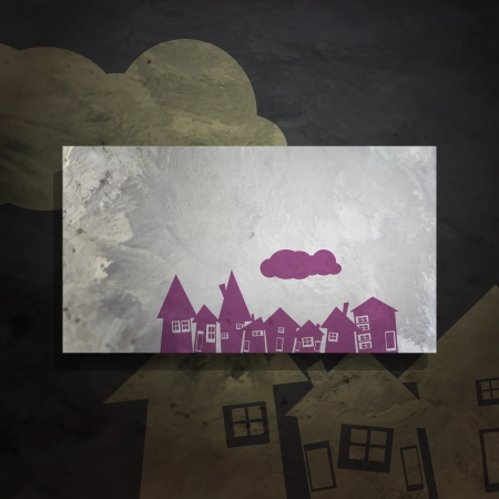 housetop: new abstract frame with violet village and cloud can use like modern design