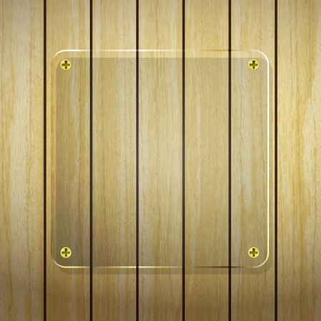 new transparent glass frame on wood planks background can use for web design  Vector