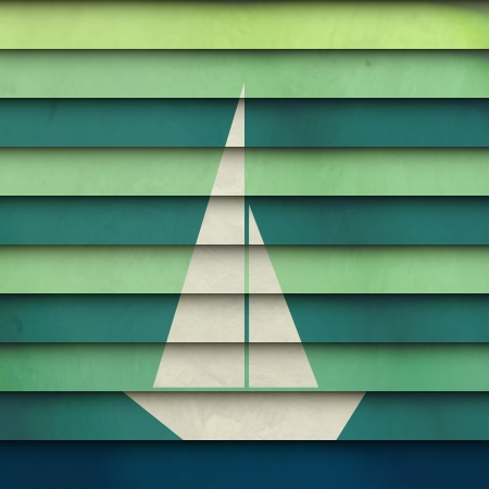new abstract symbol of boat on striped paper can use like holiday design Vector