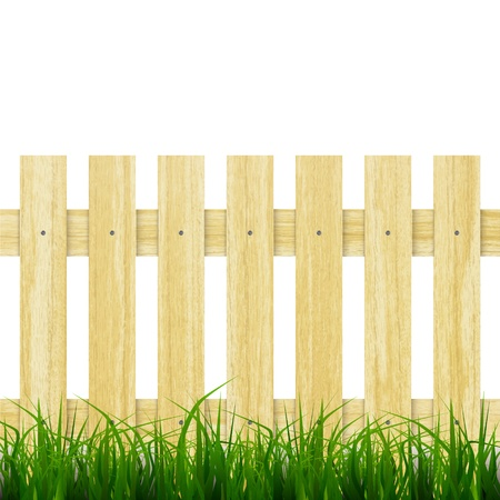 symbol fence: new realistic wooden fence with green grass can use for natural design Illustration