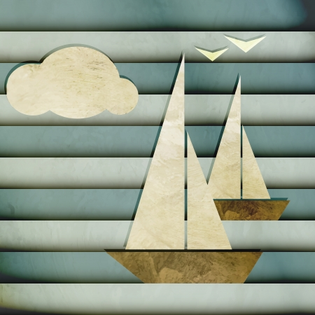 old boat: new cartoon style image with boats cloud and seagulls can use like nautical design Illustration