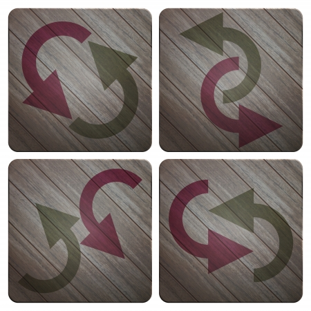 new set of wood style buttons with arrow signs Vector
