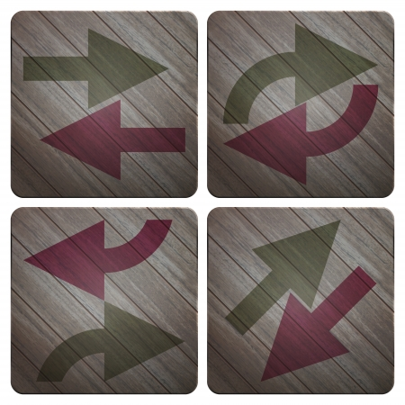 back link: new set of application icons with arrows symbols on wooden texture Illustration