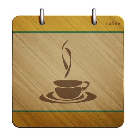 new quality icon with coffee cup symbol on wooden background  Vector
