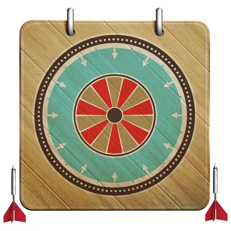 new dartboard icon with vintage style target can use like retro style design element Vector