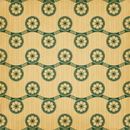 new seamless pattern with vintage style flowers and waves can use like retro design ornament Stock Vector - 20879511