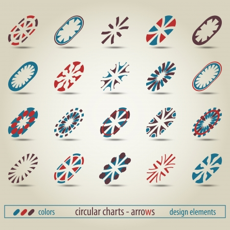 new set of oval pointers can use like modern icons Vector
