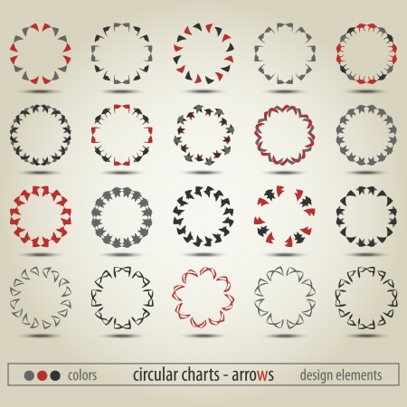 new set of circular charts can use like modern design elements Vector