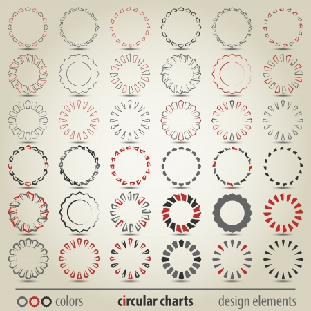 new set of different styles circular charts can use like modern design elements Vector